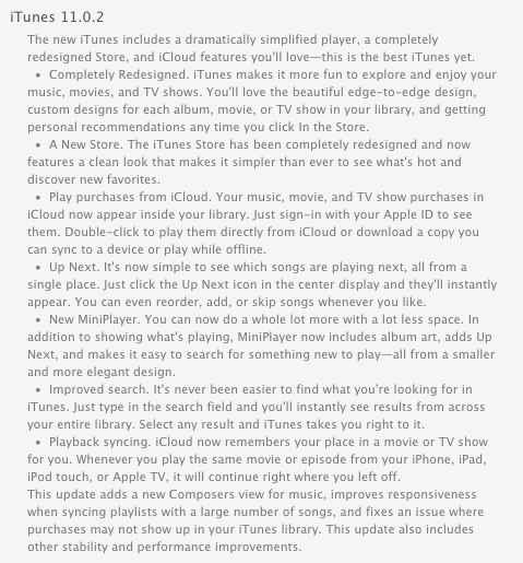 itunes 11.0.2 update with composer view changes greekiphone