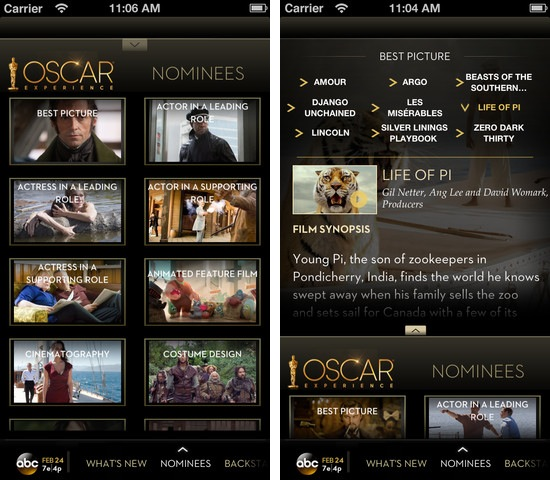 oscars 2013 academy awards iphone ipad abc channel greekiphone