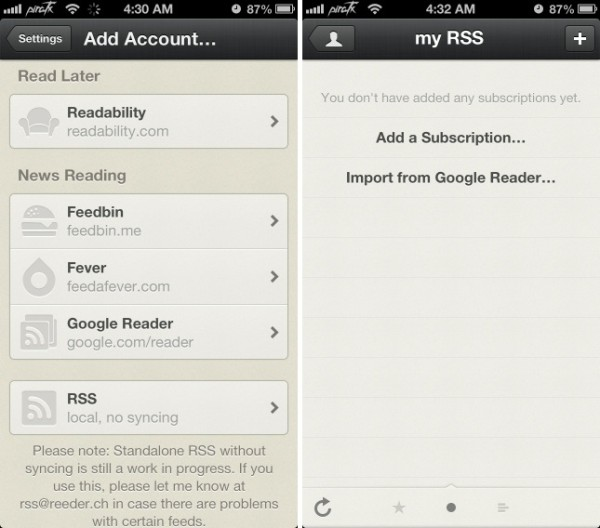 reeder updated with rss local only support greekiphone