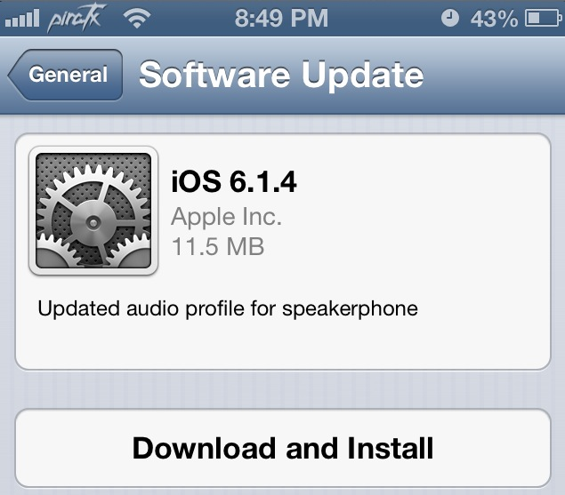 apple ios 6.1.4 iPhone 5 update speaker