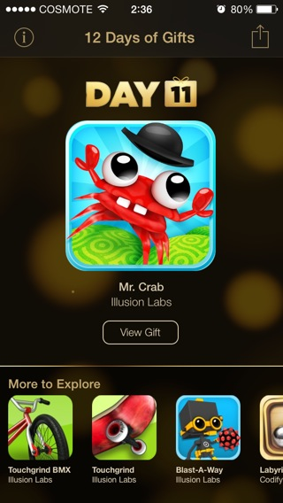 itunes 12 days of gifts day 11 mr crab